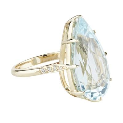 Lot 9-An aquamarine and diamond set cocktail ring