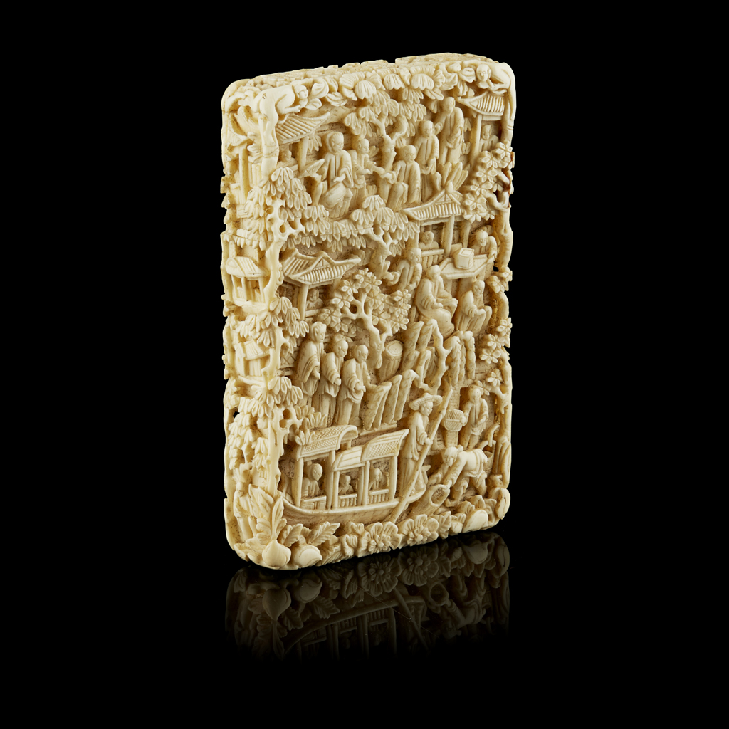 Lot 24-CANTON IVORY CARD CASE