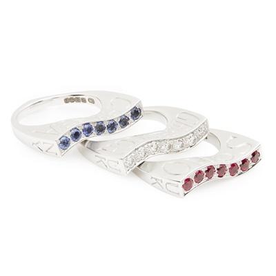 Lot 71-A set of multi-gem stackable rings, Stephen Webster