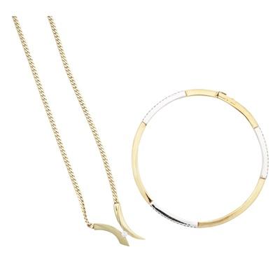 Lot 113 - A modern diamond set bangle and pendant necklace
