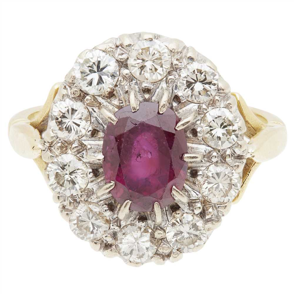 Lot 19-A ruby and diamond set cluster ring