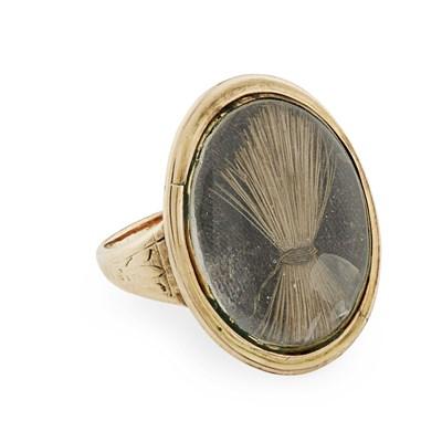 Lot 460 - A GOLD MOUNTED RING ENCLOSING A LOCK OF PRINCE CHARLES EDWARD STUART'S HAIR