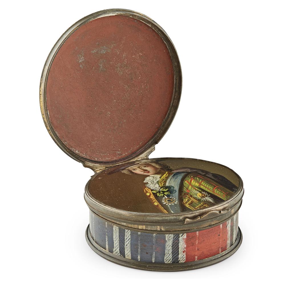Lot 469 - A HIDDEN PORTRAIT JACOBITE ENAMEL SNUFF BOX