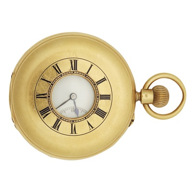 Lot 342 - An 18ct gold demi hunter cased pocket watch - Army and Navy stores London