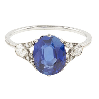 Lot 50-A sapphire and diamond set ring