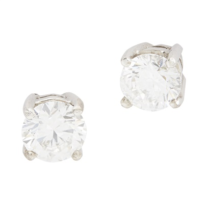 Lot 148 - A pair of synthetic diamond stud earrings