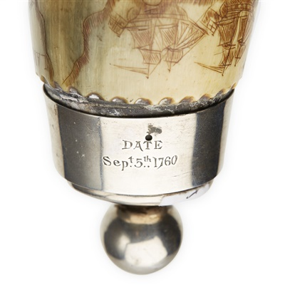 Lot 9 - THE KENNEDY OF CASSILLIS FRENCH AND INDIAN WAR ENGRAVED MAP POWDER HORN