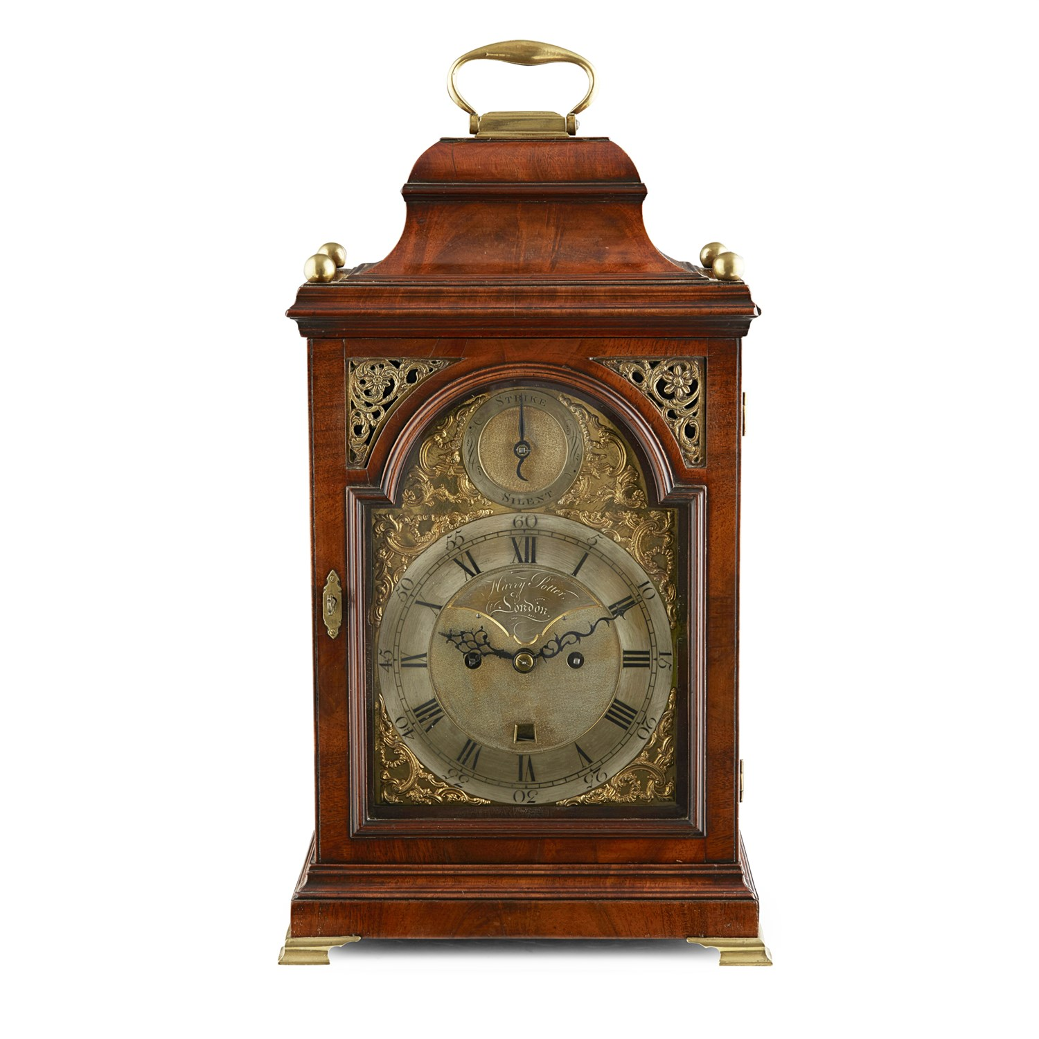 Lot 35 - GEORGE III MAHOGANY HOUR REPEATING BRACKET CLOCK, HARRY POTTER, LONDON