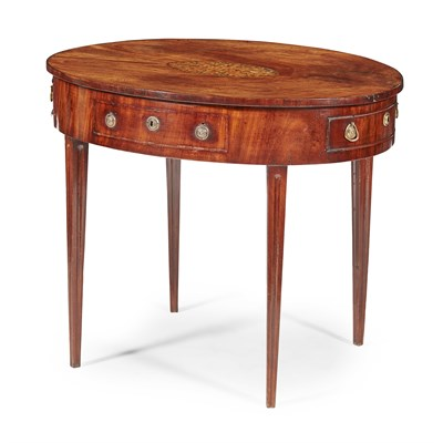 Lot 50-DUTCH MAHOGANY AND MARQUETRY TABLE