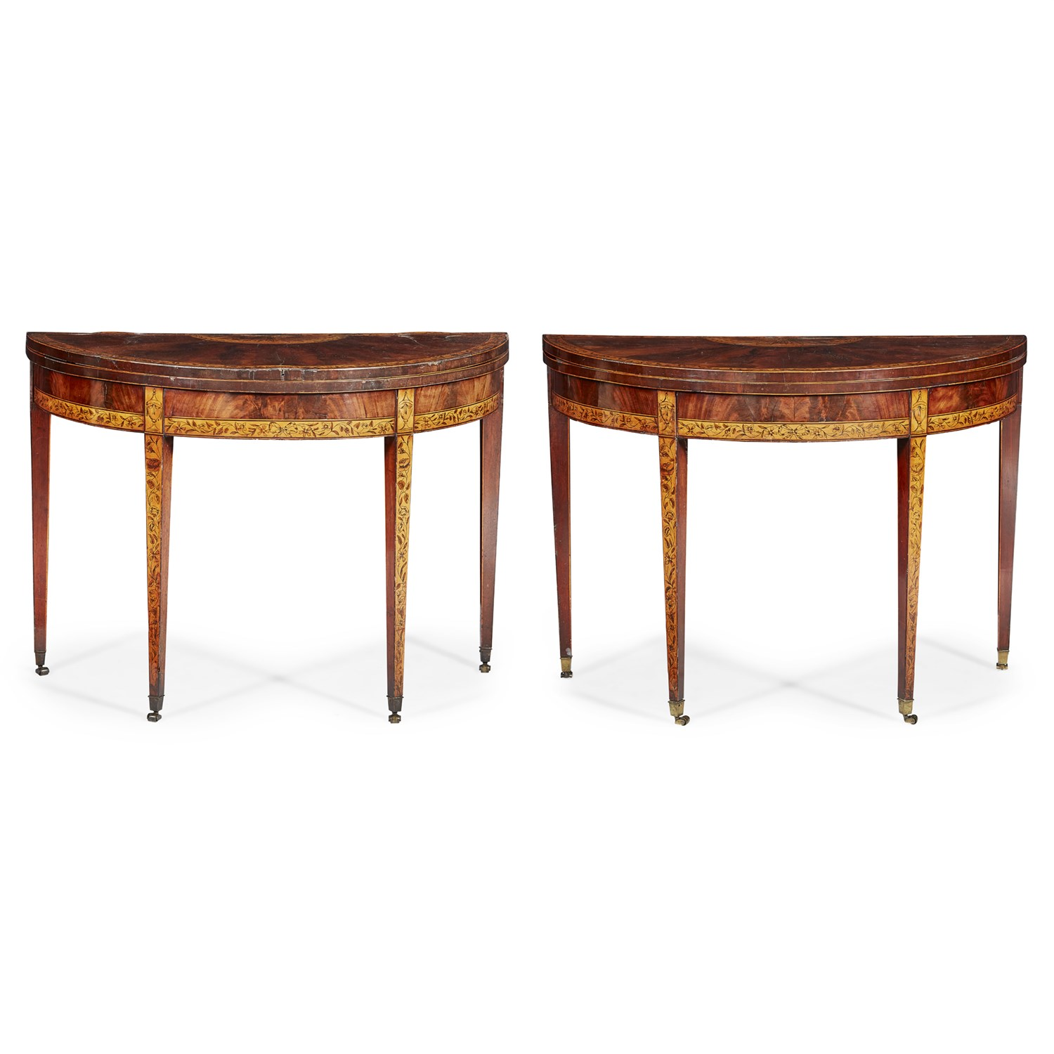 Lot 30 - PAIR OF GEORGE III MAHOGANY, SATINWOOD AND PENWORK DEMILUNE GAMES TABLES, POSSIBLY IRISH
