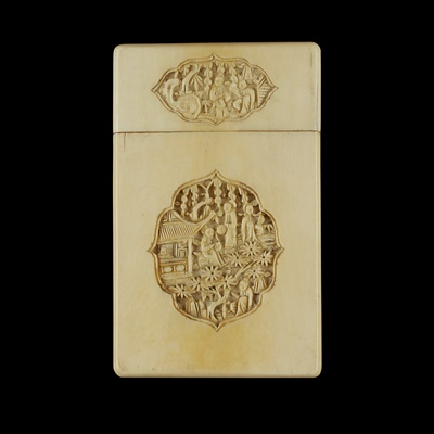 Lot 25-CANTON CARVED IVORY CARD CASE
