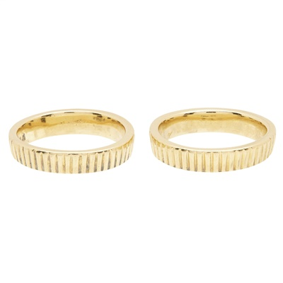 Lot 68-A pair of 18ct gold textured rings, by Kutchinsky