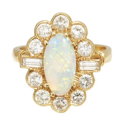 Lot 96 - A opal and diamond set cluster ring