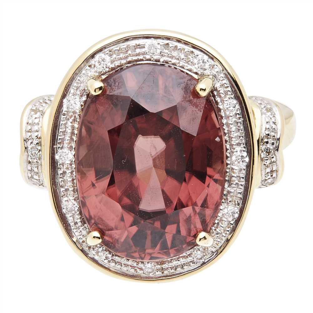 Lot 28-A pink tourmaline and diamond ring
