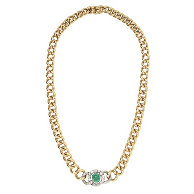 Lot 19-An emerald and diamond set necklace