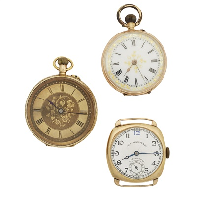 Lot 345 - Two Victorian small gold fob watches