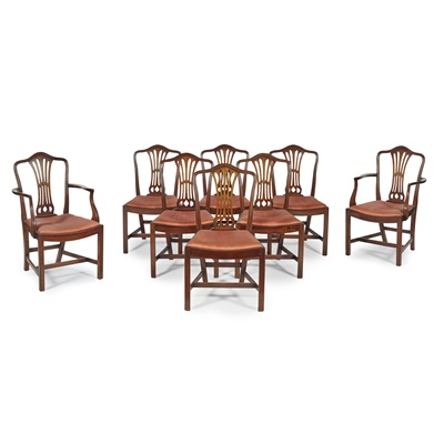 Lot 58-SET OF EIGHT GEORGE III STYLE MAHOGANY DINING CHAIRS