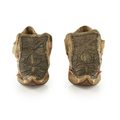 Lot 14-A PAIR OF BULLION WORK DECORATED SHOES
