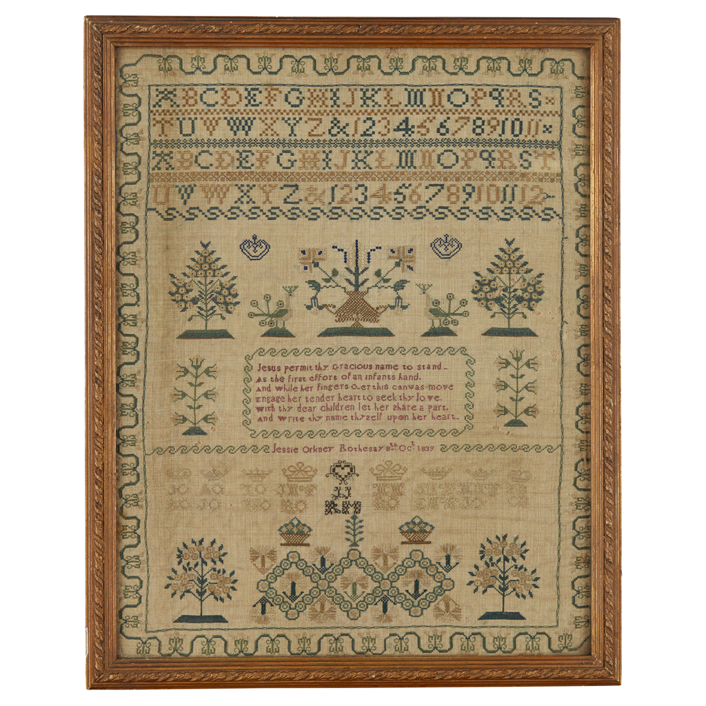 Lot 17-A SCOTTISH EMBROIDERED SAMPLER