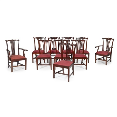 Lot 64-MATCHED SET OF TEN GEORGIAN STYLE DINING CHAIRS
