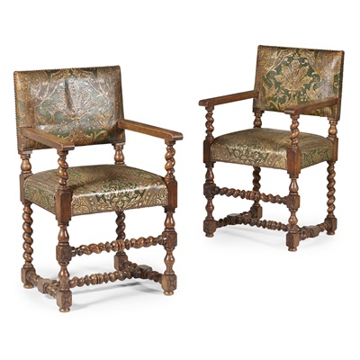 Lot 10-SET OF EIGHT CAROLEAN STYLE OAK AND POLYCHROME LEATHER DINING CHAIRS