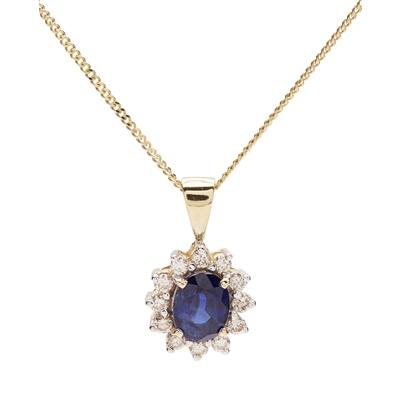 Lot 137 - A sapphire and diamond set cluster pendant