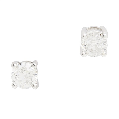 Lot 147 - A pair of diamond set ear studs