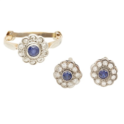 Lot 53-A pair of sapphire and diamond set earrings