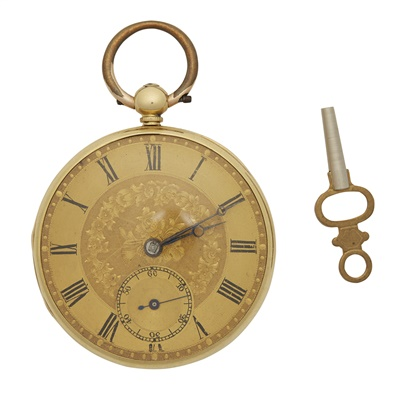 Lot 344 - An 18ct gold open faced pocket watch, Archibald Haswell, London