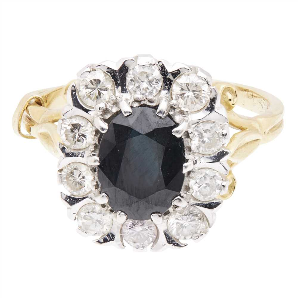 Lot 8-A sapphire and diamond set cluster ring