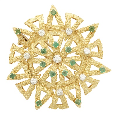 Lot 75-A 1970s 18ct gold emerald and diamond set brooch