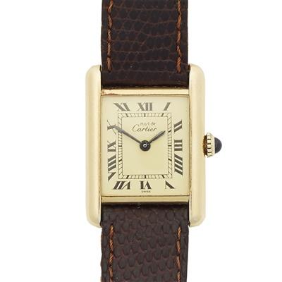 Lot 312 - A lady's silver gilt wrist watch, Must de Cartier