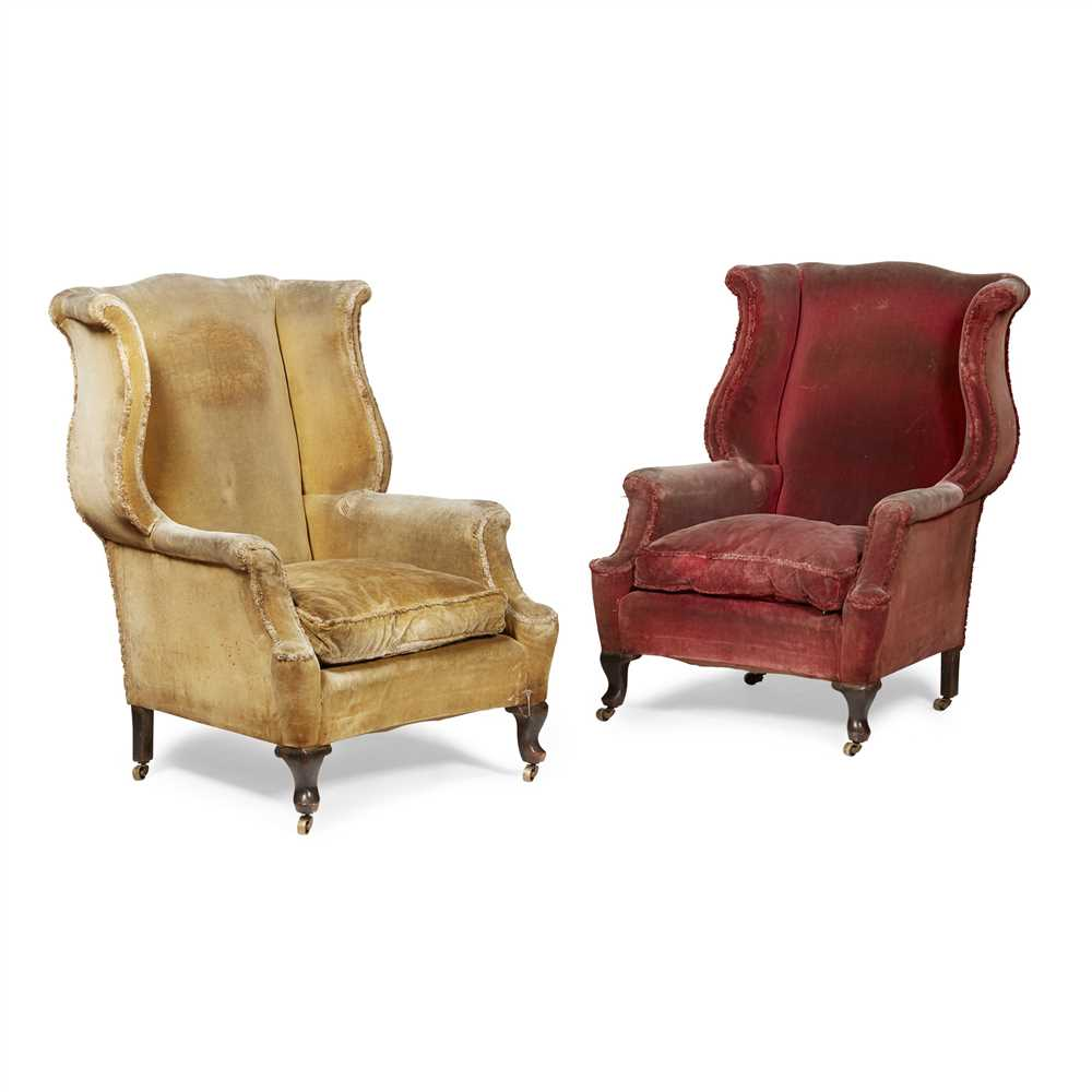 Lot 26-PAIR OF GEORGE II STYLE MAHOGANY FRAME WING ARMCHAIRS