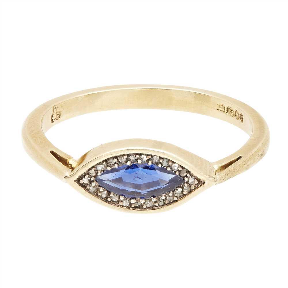 Lot 6-A sapphire and diamond set ring