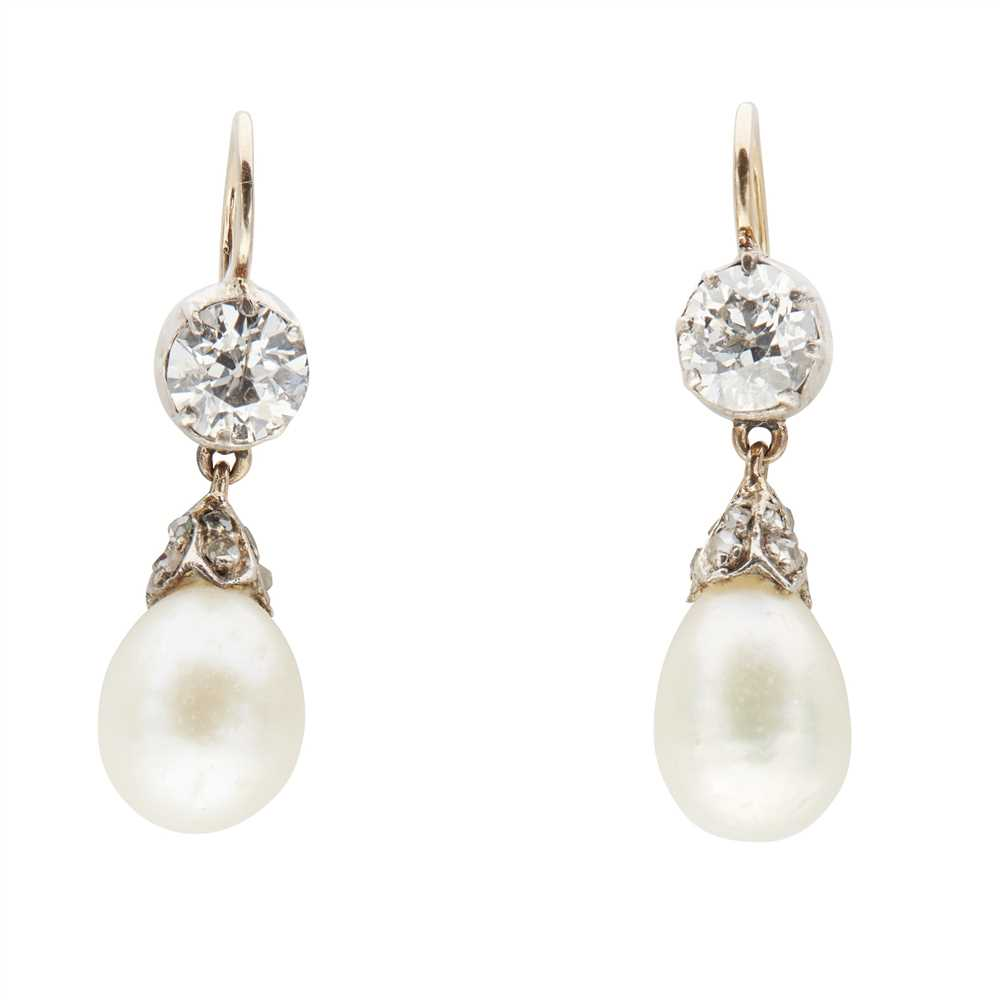 Lot 3 - A pair of diamond and natural pearl set pendant earrings