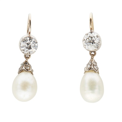 Lot 3-A pair of diamond and natural pearl set pendant earrings