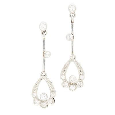 Lot 150 - A pair of diamond set pendant earrings