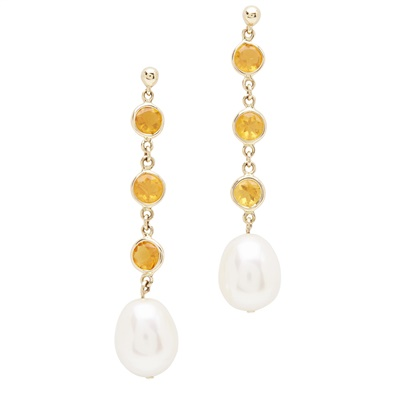 Lot 93 - A pair of pearl and fire-opal set pendant earrings