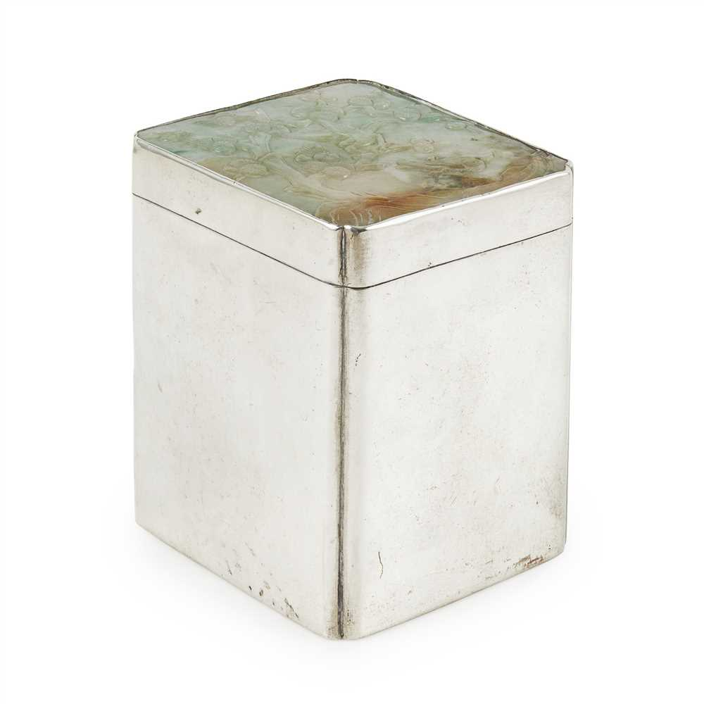 Lot 52 - SILVER SQUARE BOX WITH A JADEITE-MOUNTED COVER