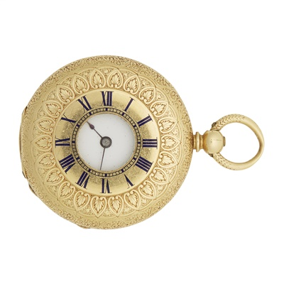 Lot 348 - An 18ct gold and enamel lady's fob watch