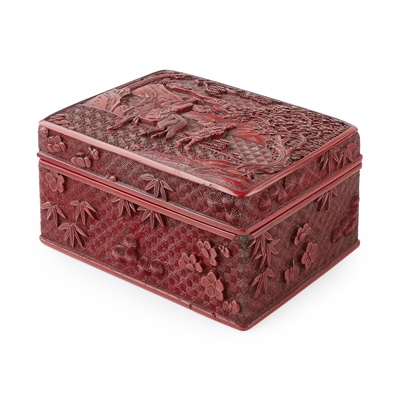 Lot 2-CINNABAR LACQUER RECTANGULAR BOX AND COVER