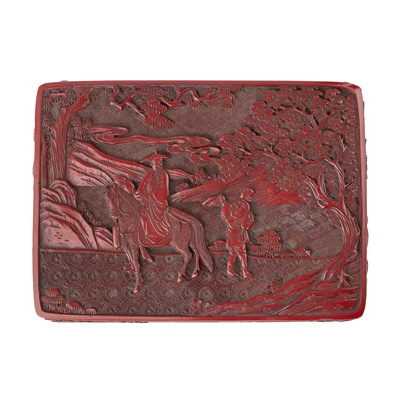 Lot 2 - CINNABAR LACQUER RECTANGULAR BOX AND COVER