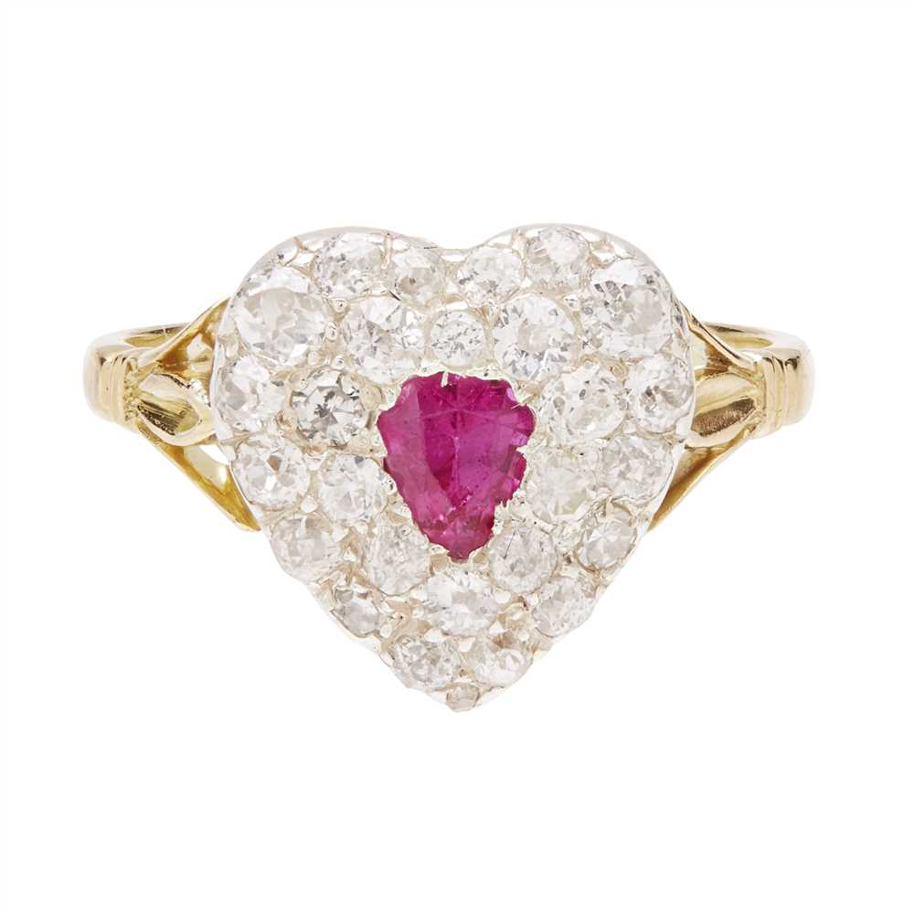 Lot 44-A ruby and diamond set ring