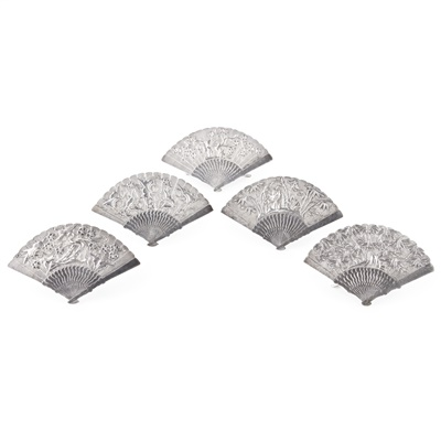 Lot 50 - COLLECTION OF FIVE SILVER FAN-SHAPED MENU HOLDERS