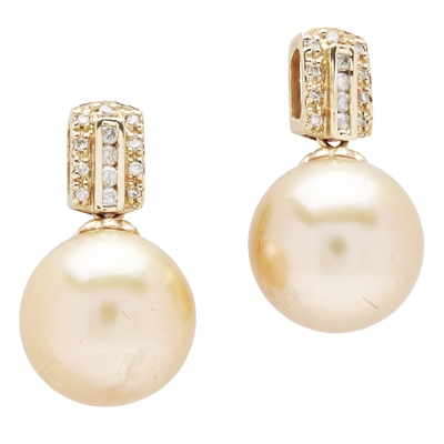 Lot 95 - A pair of cultured pearl and diamond earrings
