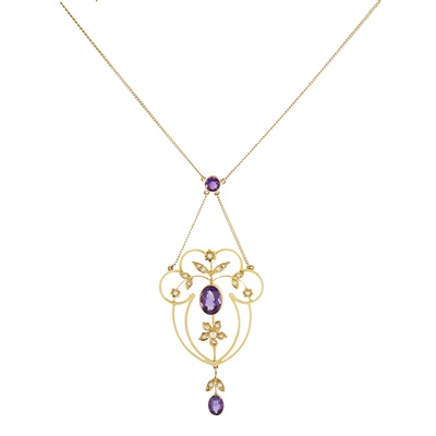 Lot 31-A Belle Époque amethyst and seed pearl set pendant