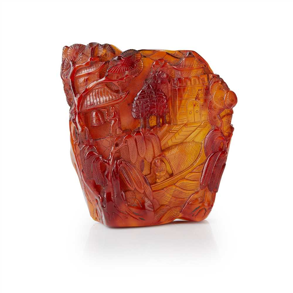 Lot 45 - AMBER CARVING OF A LANDSCAPE