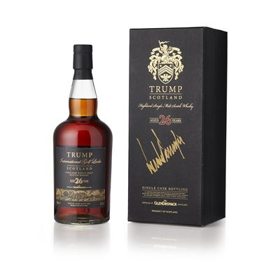 Lot 9-GLENDRONACH 26 YEAR OLD - TRUMP INTERNATIONAL GOLF LINKS COMMEMORATIVE BOTTLE