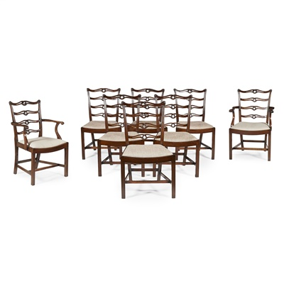 Lot 54-SET OF EIGHT GEORGE III STYLE MAHOGANY DINING CHAIRS