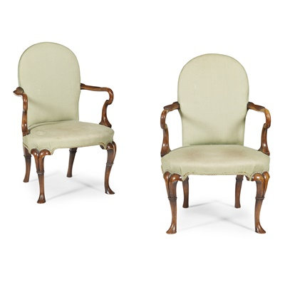 Lot 15-PAIR OF GEORGE I STYLE ARMCHAIRS